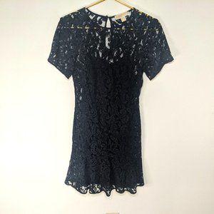 Michael Kors Navy Lace Short Sleeve Ruffle Dress 0